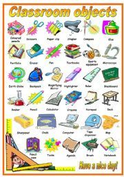 English worksheet: CLASSROOM OBJECTS - PICTIONARY (B&W VERSION INCLUDED)