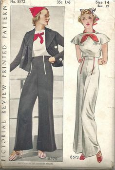 Pictorial Review 8572, ca. 1930; Misses and Womens Slacks Ensemble: A nautical note is introduced in this ensemble by the short, double-breasted jacket