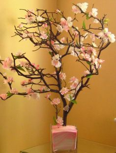 Pink sand in the bottom of a clear vase - ideas for Cherry Blossom Centerpiece. Cherry Blossom Wedding, Cherry Blossom Tree, Blossom Trees, Black Vase, White Vases, Tall Vases, Silver Vases, Cherry Blossom Centerpiece, Manzanita Tree Centerpieces