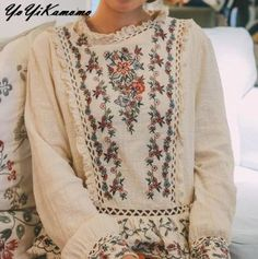 Shirt Collar Types, Types Of Collars, Bohemian Tops, Bohemian Skirt, Boho Gypsy, Mori Girl, Shirt Embroidery, Floral Embroidery, Embroidery Fabric