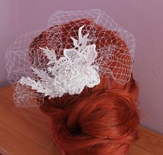 Beautiful Lace Birdcage veil with pearls Find on Etsy - Oliwedding store