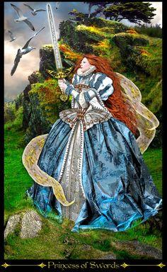 princesse d'épées - Tarot Illuminati par Erik Dunne