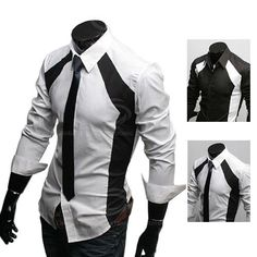 White And Black Shirt Mens