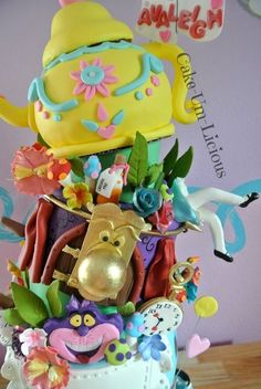 Alice In Wonderland Cake  Wouldn't our Alice love this cake at a Tea Party www.PremierPrincessParties.com