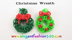 nice Easy Rainbow Loom Holiday/Christmas Wreath Charm(Hook) - How to Loom Bands Ornaments