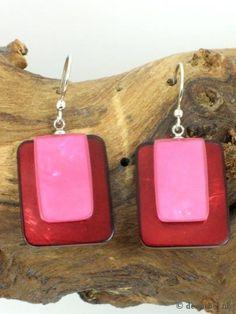 Mooie roze rechthoekige parelmoer oorbellen (hanger), 8065 | Deoorbel voor de mooiste oorbellen online. Oorbel internetwinkel... Sieraden webshop