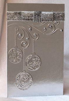 silver one layer christmas card