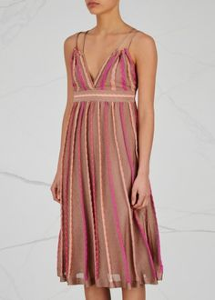 Bronze pleated fine-knit dress