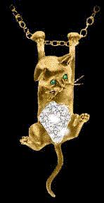Finest Sterling Silver and Gold Cat Jewelry available. from earrings, pins, pendants, rings, bracelets, charms, to barrettes.