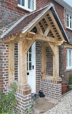 Jolly widened entrance porch design Buy this item Front Door Canopy, Porch Canopy, Front Door Porch, Porch Roof, Side Porch, Cottage Porch, Cottage Exterior, House With Porch, House Front