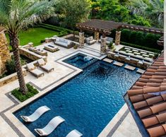 When you are making your house looks wonderful pool spa plan, the use of wooden material always seems the best combination with it. Look at the picture, that this artistically adorned with a large pergola, with few classic lounger at the patio and under t Pool Spa, Outdoor Swimming Pool, Urban House, Pavillion, Luxury Pools, Pool Builders, Mediterranean Decor, Dream Pools, Beautiful Pools