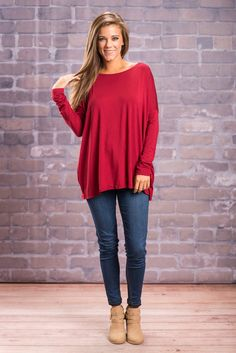 """""""Oh So Easy Piko Top, Wine""""PIKO tops are here!! If you do not own one of these tops, you are missing out! We are loving the gorgeous color and super soft material.  #newarrivals #shopthemint"""