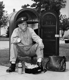 Busy Postman on Break  in Hays, Kansas in 1951. Photograph by Jack Fletcher, National Geographic