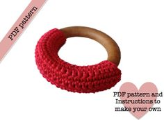 Crochet covered wooden teething ring PDF PATTERN