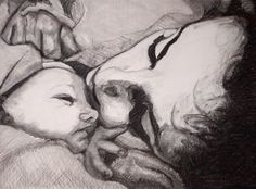 study of mother & son in charcoal