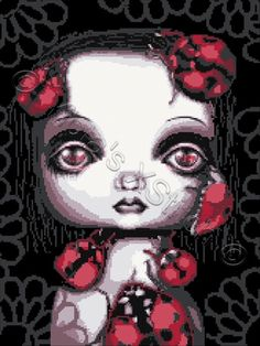 Ladybug girl - gothic cross stitch kit | Yiotas XStitch