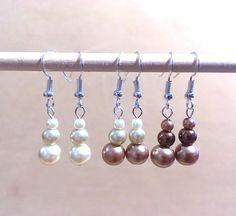 Graduated Neutral Pearl Dangle Earrings Handmade by Pizzelwaddels