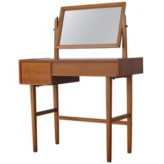 Mid-Century Swedish Modern Dressing Table Vanity with Mirror | From a unique collection of antique and modern vanities at https://www.1stdibs.com/furniture/tables/vanities/