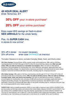 Pinned May 31st: 30% off at Old Navy, or 20% online via promo code ONTAKE20 coupon via The Coupons App