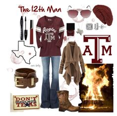 """Aggie"" by tx-redhead ❤ liked on Polyvore featuring Lord & Taylor, Current/Elliott, Old Navy, MICHAEL Michael Kors, mbyM, Frye, Alexander McQueen, Giorgio Armani, Lancôme and Butter London"