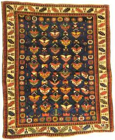 """Shirvan Rug Blue Field """"Shrub"""" with Structure"""