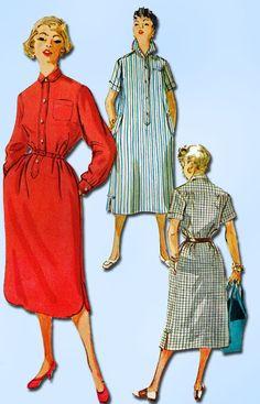1950s Misses Simplicity Sewing Pattern 4761 Uncut Misses House Dress Size 16 34B
