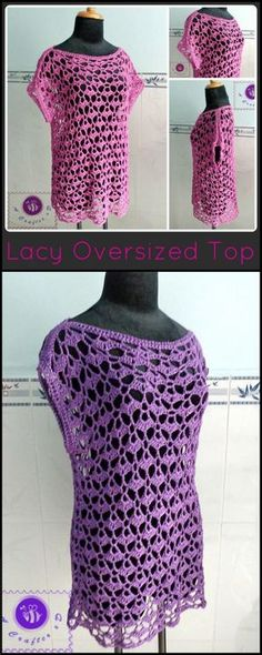 Crochet Lacey Oversize Top - 50+ Quick & Easy Crochet Summer Tops - Free Patterns - DIY & Crafts