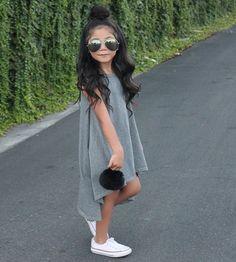 Grey dress paired with white converse