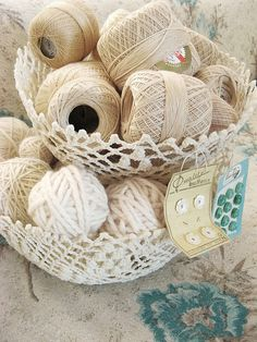 baskets crochet basket, thread, sew notion, op idea, crochetbasket, craft idea, basket creat, sew vintag, baskets
