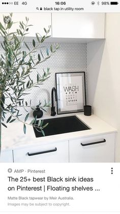 like the deep black sink, black tap, black handles and the hexagon tiles on wall Laundry Decor, Small Laundry Rooms, Laundry Room Design, Laundry Shoot, Interior Design Living Room, Living Room Designs, Living Room Decor, Modern Bathroom Sink, Paint Colors For Living Room