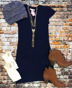 Navy Pocket Sweater Dress from privityboutique