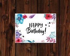 Geburtstagskarte, Postkarte Happy Birthday, Birthday post card, watercolor flower, aquarell Blumen Karte