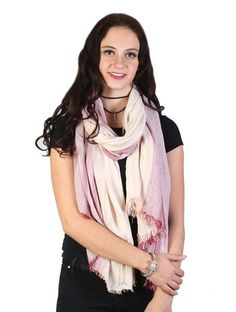 Trendy Two Tone Design Lightweight Scarf Frayed Edges