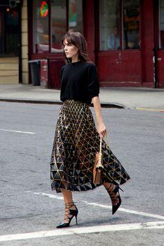 Black Sweater + Metallic Midi Skirt + Statement Heels