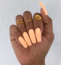 Peach Matte Nails. Love the color their just too long Nail Design, Nail Art, Nail Salon, Irvine, Newport Beach