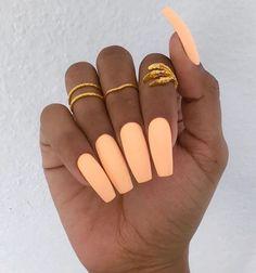 Peach Matte Nails. Love the color their just too long Nail Design, Nail Art, Nail Salon, Irvine, Newport Beach