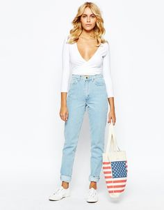 Image 1 ofAmerican Apparel High Rise Mom Jeans