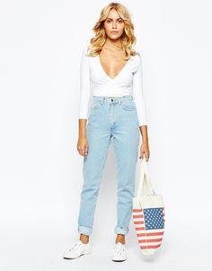 American Apparel - Jean mom à taille haute