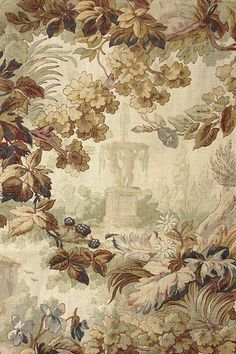 Beautiful light weight, antique French printed cotton fabric ~ stunning garden and mill design ~ ideal for cottage or French country interior ~ French Country Fabric, French Fabric, Les Fables, Fabric Wallpaper, Plant Wallpaper, French Decor, Textile Patterns, Textile Fabrics, Vintage Textiles