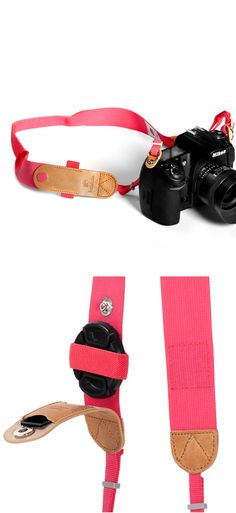 Camera strap with lens cap holder Wish it was black or any color besides pink. Brown or black would be nice