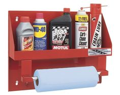 Red Powdercoated Steel Garage Shelf, Gardenista Large oil bottle holder with towel rack      Holds your oil bottles     Has towel rack      Constructed of durable red stamped steel     Measures 19in.L x 14in.W x 4in.H