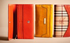 Vibrant wallets in bright tortoiseshell and yellow from the Burberry A/W13 accessories collection