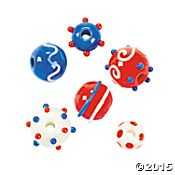 Red, White & Blue Round Lampwork Beads - 7mm - 14mm