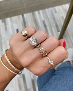 From left to right: Initial Signet Ring, Pierced Roman Numeral Cigar Band, Diamond Trellis in Giverny Ring, Round Illusion Band, Diamond Bangle Shop Engagement Rings, Morganite Engagement, Morganite Ring, Rose Gold Engagement Ring, Vintage Engagement Rings, Halo Engagement, Stem Challenge, Outfit Look, Diamond Cluster Ring