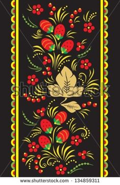 Khokhloma.Illustration of traditional russian ornament.Vector. EPS-10 (non transparent elements,non gradient).