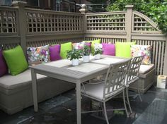Setting an outdoor dining room doubles your entertaining space on warm summer days!