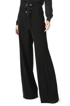 BUSCH BLACK LACE-UP WIDE LEG PANT from Jay Godfrey