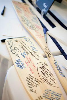 Nautical wedding oar, boat paddle guestbook;   http://www.mybigdaycompany.com/