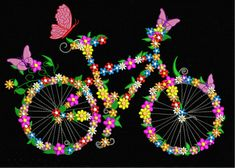 Get Adorable Floral Bicycle - Cycle Embroidery Design. Enjoy the day by having this beautiful design with mutliple formats and various sizes. Embroidery Suits Punjabi, Embroidery Suits Design, Hand Embroidery Patterns, Machine Embroidery Designs, Floral Embroidery, Embroidery Store, Embroidery On Clothes, Punjabi Suits Designer Boutique, Neckline Designs