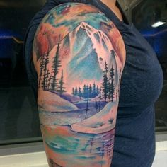 Base the tattoo on this concept. I want more green at the base of the mountain with rock showing on the mountain. Make the sky and water similar. Lower leg sleeve.